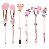 Cute Constellation Professional Makeup Brushes - 6pcs Makeup Brush Set for Foundation Powder Cream Blush Concealer Blending, Cosmetic Brushes Set for Horoscope Lover (Set B)