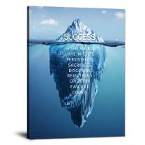 """Inspirational Wall Art Success Iceberg Pictures Inspiration Decoration Motivation Inspire Entrepreneur Quotes Canvas Painting Prints Artwork Home Decor for Office Framed Ready to Hang (30""""Wx40""""H)"""
