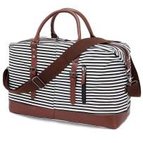 Canvas Travel Tote Bag for Women,Oversized Weekender Duffel Bag with Printing Lining and Shoulder Strap,Black Stripe Overnight Carry-on Luggage Bag