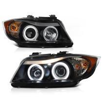 [For 2006-2008 BMW E90 E91 3-Series Halogen Model] CCFL Halo Ring Black Projector Headlight Headlamp Assembly, Driver & Passenger Side