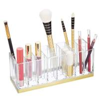 mDesign Plastic Cosmetic Organizer Storage Center with 24 Sections for Bathroom Countertops, Vanity - Hold Makeup Brushes, Lipstick, Lip Gloss, Concealers, Mascara, Eye Pencils - Clear/Soft Brass