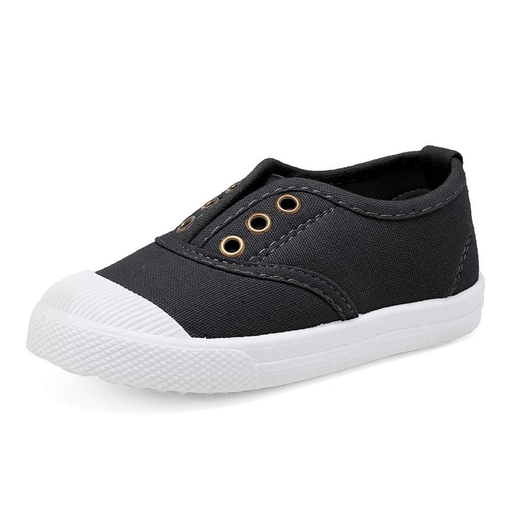 Kids Canvas Sneaker Slip-on Boys Girls Casual Fashion Shoes Toddler Lightweigth Soft Walking Shoes Black