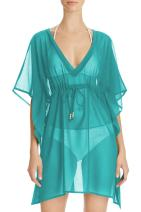 Pink Wind Women's Sheer Kimono Cover Ups Chiffon Long Beach Wear Dress