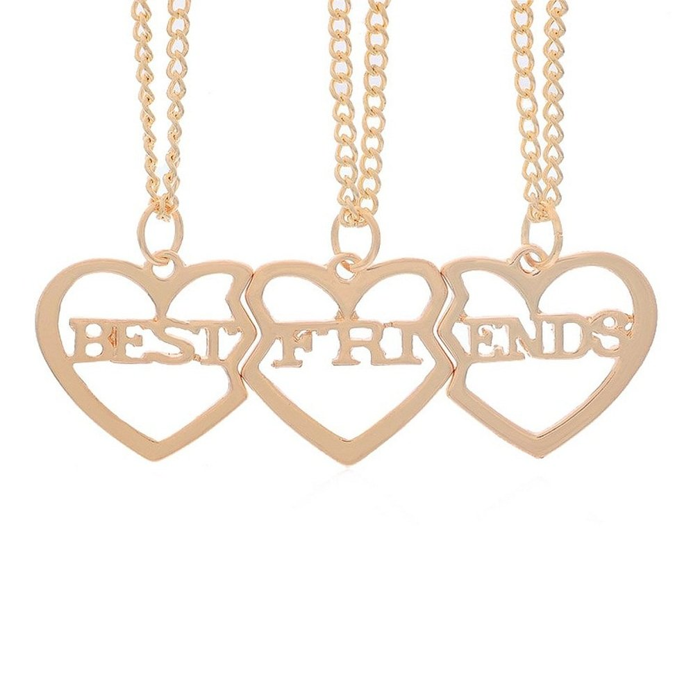 MJartoria Best Friends Necklaces Letter Filigree Trio Heart Puzzle Pendant Chain Friendship Necklaces Set of 3