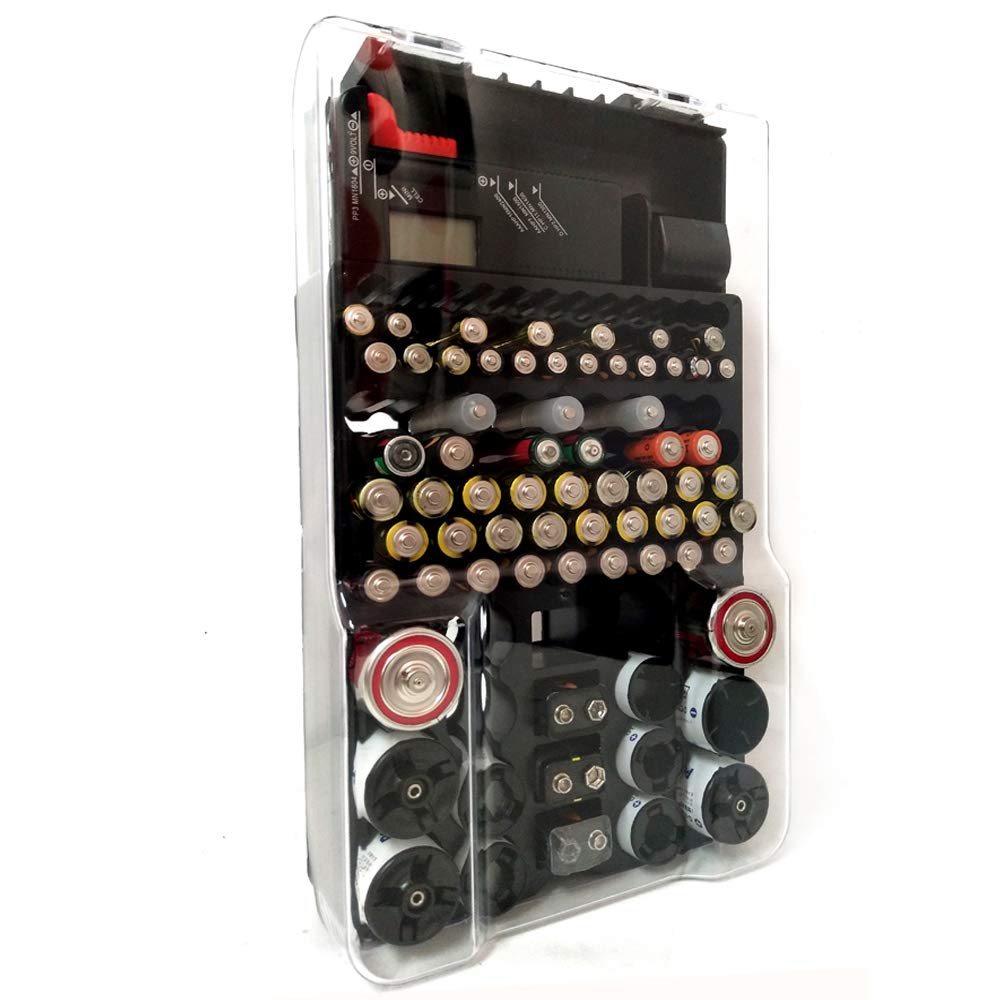 【2020 Upgrade】 Battery Storage Case with Hinged Clear Cover, Includes a Removable Tester, Holds 93 Batteries Various Sizes, Support AA, AAA, D, C, 9V, and Button Batteries Storage Box