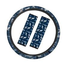 Micandle Steering Wheel Cover, Seat Belt Pads Cover, Cartoon Shark Print Universal Car Accessories Safety Belt Pad and Steering Wheel Cover Combo Set for Most Vehicle SUV Truck, Pack of 3