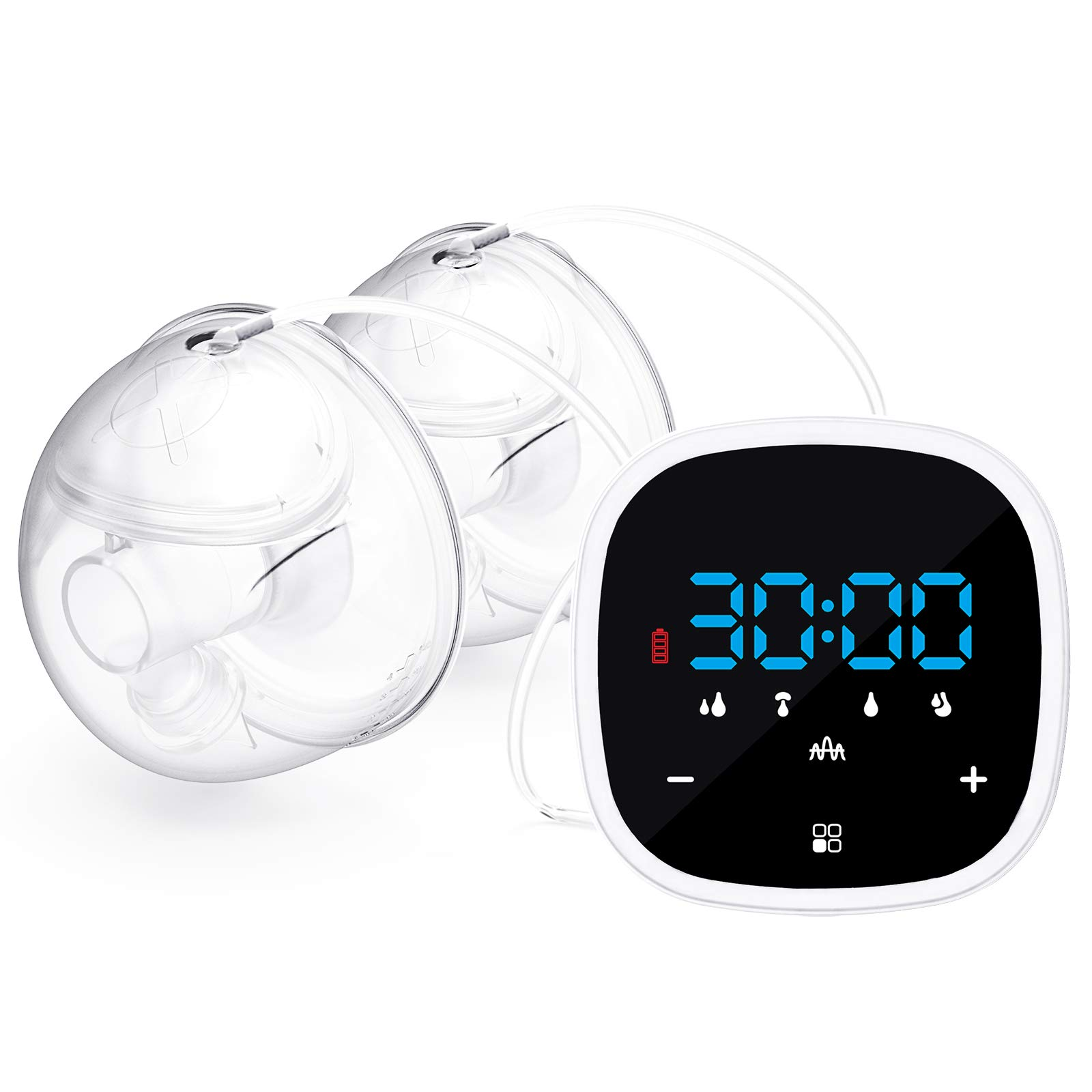 Wearable Electric Double Breast Pump 5 Modes & 7 Levels Strong Suction Power, Memory Function Silent, 24-27mm Flange,Hands-Free,Rechargable,Invisible Wear,Touch Button Digital Display Hospital Grade