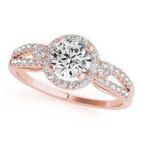 1/2 Carat Halo Diamond Engagement Flower Shape Ring 14K Solid Rose, White & Yellow Gold