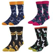 Men's Novelty Funny Crazy Cute Food Animals Crew Socks 4 Pack with Gift Box