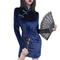 Women's Chinese Style Dresses Vintage Stand Collar Split Casual Pencil Party Dress