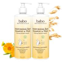 Babo Botanicals Moisturizing Baby 2-in-1 Shampoo & Wash with Oatmilk and Organic Calendula, Hypoallergenic, Vegan - 2-Pack 16 oz.