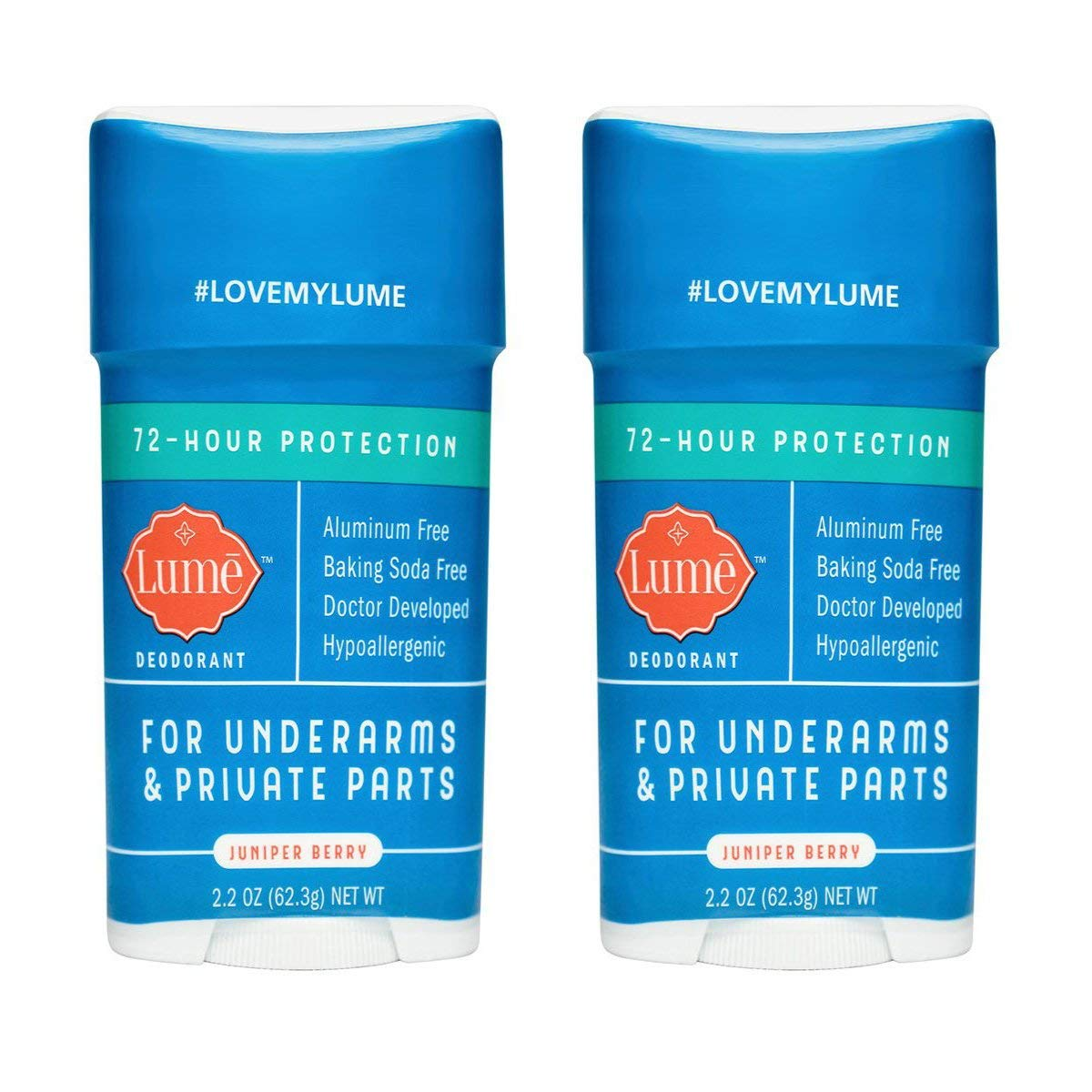Lume Natural Deodorant - Underarms and Private Parts - Aluminum Free, Baking Soda Free, Hypoallergenic, and Safe For Sensitive Skin - 2.2 Ounce Stick Two-Pack (Juniper Berry)