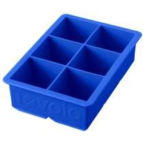 "Tovolo Inch Large King Craft Ice Mold Freezer Tray of 2"" Cubes for Whiskey, Bourbon, Spirits & Liquor Drinks, BPA-Free Silicone, Set of 1, Capri Blue"