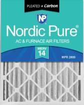 Nordic Pure 16x24x4 MERV 14 Pleated Plus Carbon AC Furnace Air Filters 2 Pack
