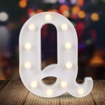 ODISTAR LED Light Up Marquee Letters, Battery Powered Sign Letter 26 Alphabet with Lights for Wedding Engagement Birthday Party Table Decoration bar Christmas Night Home,9'', White(Q)