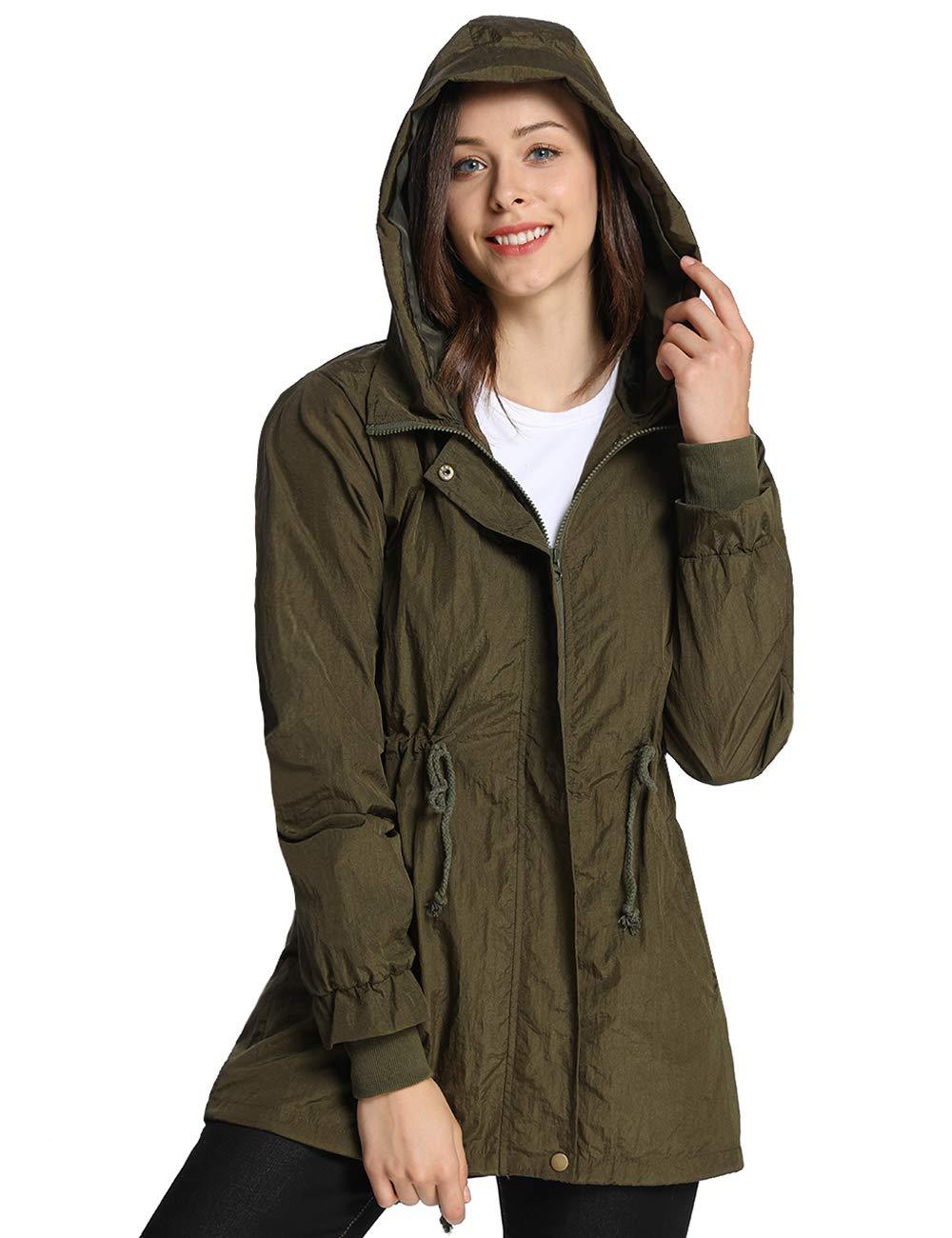 iloveSIA Woman's Lightweight Rain Jackets Spring Spray-Proof Dust-Proof Outwear with Hood