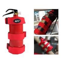 Adjustable Roll Bar Fire Extinguisher Mount Holder Strap 3 lb for Jeep Wrangler Unlimited CJ YJ LJ TJ JK JKU JL JLU (RED)