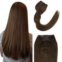Easyouth 18Inch Hidden Crown Hair Extensions Solid Color 4 Medium Brown Double Weft Hair Extensions 80g, One Piece Extensions Hair Easy to Install for Daily Use Remy Hair Extensions