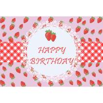 Baocicco 5x4ft Strawberry Happy Birthday Backdrop Photography Background Pink Red Strawberry Stripes Grids Lace Little Princess Girls Little Lady Birthday Theme Party Photo Studio Video Props