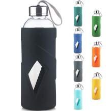 32oz Borosilicate Glass Water Bottle with Non-Slip Silicone Sleeve and Stainless Steel Lid BPA-Free for Daily Intake Drink (Black)