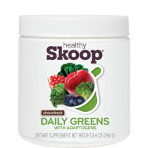 Healthy Skoop A-Game Chocolate Plant-Based Daily Greens Shake with Adaptogens, Chocofresh, 8.4 Ounces Chocofresh