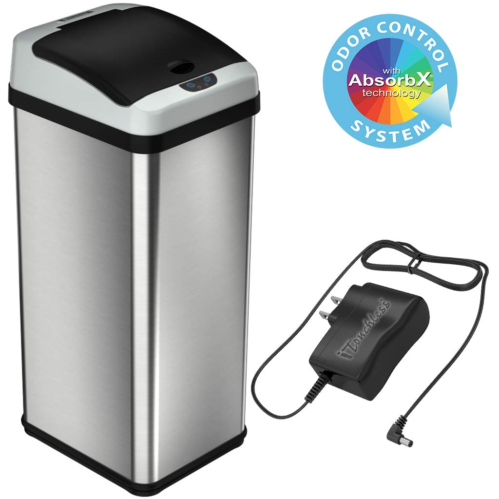 iTouchless 13 Gallon Stainless Steel Touchless Sensor Trash Can with AC Adapter, Battery-Free Platinum Limited Edition, Odor Control System Automatic Kitchen Garbage Bin