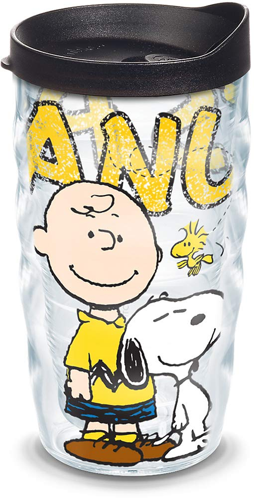 Tervis 1138894 Peanuts - Colossal Tumbler with Wrap and Black Lid 10oz Wavy, Clear
