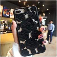 Mixneer New 3D Hollow Rose Soft Silicone Phone Case Compatible with iPhone Xs MAX XR X SE 5S 8 8plus 6 6s Plus 7 7plus Luxury Gel Flower Back Cover (Black,iPhone 5 5s se)