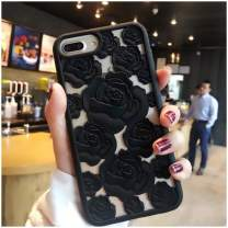 Mixneer New 3D Hollow Rose Soft Silicone Phone Case Compatible with iPhone Xs MAX XR X SE 5S 8 8plus 6 6s Plus 7 7plus Luxury Gel Flower Back Cover (Black,iPhone 8 Plus)