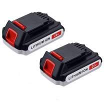 Powerextra 2 Pack LBXR20 Battery 2500mAh Replace for Black and Decker 20V Battery Max Lithium LB20 LBX20 LST220 LBXR2020-OPE LBXR20B-2 LB2X4020 Cordless Tool Battery