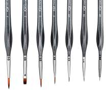 Transon Detail Art Paint Brush Set 7 Sizes with Triangular Handle for Miniatures, Models, Acrylic, Gouache, Watercolor, Oil