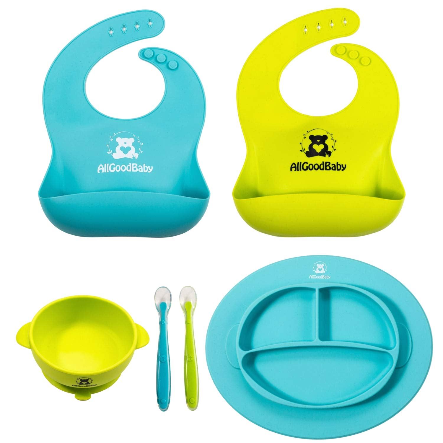 Baby & Toddler Feeding Set - 2 Pocket Food Catching Bibs, 2 Spoons, Placemat Suction Plate & Bowl   BPA Free Silicone   Safe for Children   Waterproof Spill Resistant Easy Cleaning