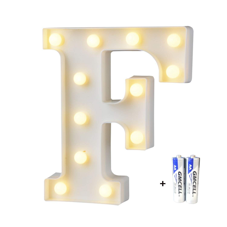 bemece LED Alphabet Letter Lights, Marquee Decorative Warm Plastic Light up Sign (Battery Included)- Letter F