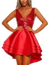 Lrady Women's Sequin Glitter V Neck Skater Mini Club Cocktail Party Swing Dress Red S