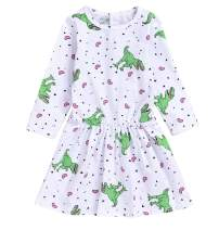 Baby Girls Sleeveless Dress Cartoon Dinosaur Rainbow Striped Summer Sundress