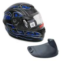MMG 22 Motorcycle Full Face Helmet DOT Street Legal +2 Visors Comes with Clear Shield and Free Smoked Shield - Large, Blue