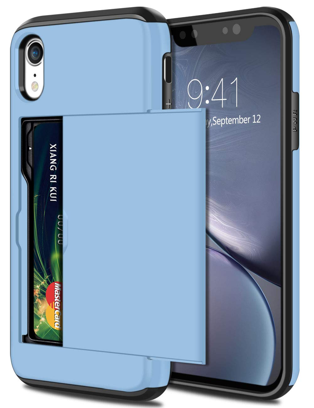 SAMONPOW Wallet Case for iPhone XR Case with Card Holder Protective Case Dual Layer Shockproof Hard PC Soft Hybrid Rubber Anti Scratch Case for iPhone XR 6.1 inch Light Blue
