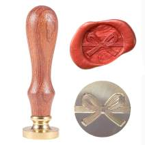 Lanyoshe Wax Seal Stamp Bowknot, Sealing Wax Stamp Retro Wood Stamp 25mm Round Brass Head Removable Wooden Handle for Letter Envelope Wedding Invitation Greeting Card Bottle Decoration Gift Packing