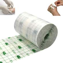 Waterproof Transparent Stretch Adhesive Bandage Fixed Tattoo Roll 4 inch *11yard Waterproof Transparent Adhesive Dressing Fixer Plaster Stretch Fixation Tape Bandage (4inch*11yard)