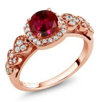 Gem Stone King 1.32 Ct Round Red Created Ruby 18K Rose Gold Plated Silver Women's Ring (Available 5,6,7,8,9)