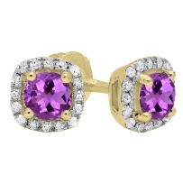 Dazzlingrock Collection 6 mm Each Round Gemstone & White Diamond Ladies Halo Style Stud Earrings, 10K Gold