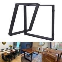 FUBIRUO Square Shaped Table Leg Bracket Black Computer Table Leg Dining Table Bar Desk Leg Cast Iron High Temperature Paint Rust Proof (28''H x26''W) 2 PCS