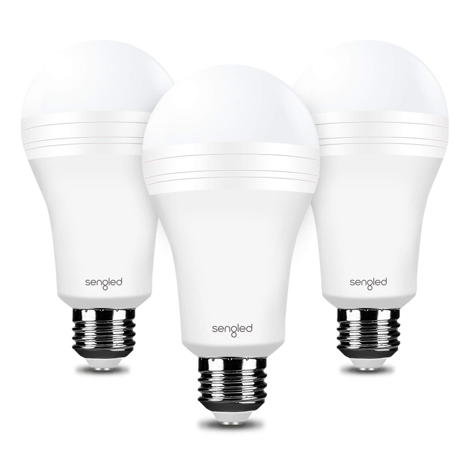Sengled Everbright Emergency Light Bulb for Power Outage with Built-in Rechargeable Battery, Lasts 3.5 Hours Flashlight A19 40W Equivalent LED, Works Like Ordinary Bulbs (3000K Warm White, 3 Pack)
