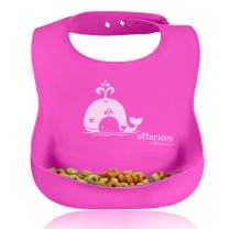 Otterlove Water-Proof Silicone Bib, 100% Pure Platinum LFGB Silicone, No fillers, No BPAs, BPS, Phthalates, VOCs or Nasty Toxins, Pink Whale