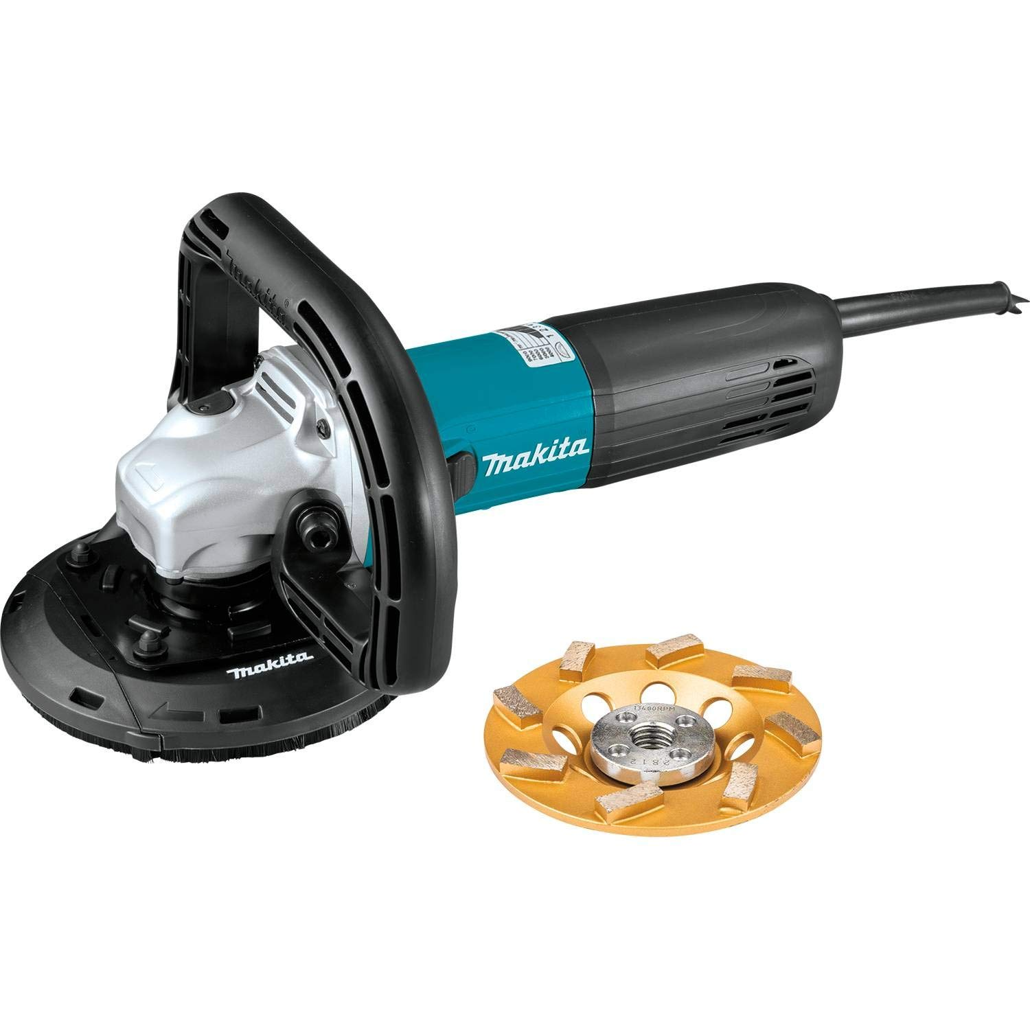 """Makita PC5010CX1 5"""" SJSII Compact Concrete Planer with Dust Extraction Shroud and Diamond Cup Wheel"""