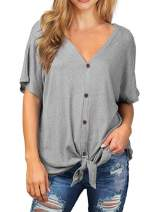 Chvity Womens Loose Henley Blouse Short Sleeve V Neck Button Down T Shirts Tie Front Knot Casual Tops