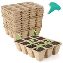 GROWNEER 36 Packs Peat Pots Seed Starter Trays, 432 Cells Biodegradable Seedling Pots Germination Trays, Organic Plant Starter Kit with 15 Pcs Plant Labels