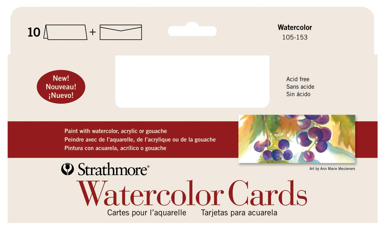 "Strathmore 105-153-1 Watercolor Cards, Cold Press, 3.875"" x 9"", 10 Envelopes, Cards & Envelopes"