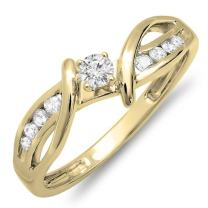 Dazzlingrock Collection 0.26 Carat (ctw) 10K Gold Round Diamond Crossover Split Shank Bridal Promise Engagement Ring 1/4 CT