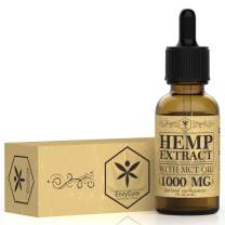 Hemp Oil 1000mg for Pain Relief, Stress and Anxiety Relief, Better Sleep - Organic Hemp Extract, 100% Natural Hemp Oil Extract with MCT Oil - Made in USA (Unflavored)